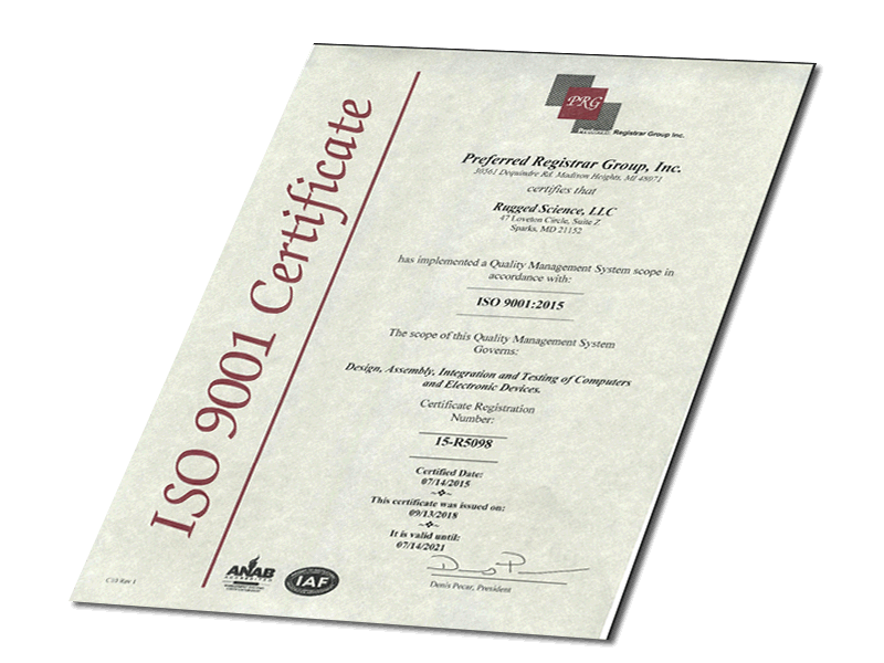 Rugged Science ISO Cert